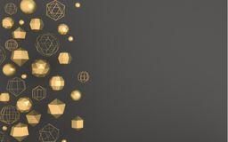 Background with gold abstract shapes. 3D illustration. Dark gray background with abstract geometric gold shapes in space Stock Images