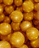 Abstract background of colorful balls. Background of gold balls. Abstract color holiday 3D rendering illustration. Yellow spheres royalty free illustration