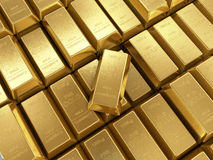 Background of gold bars close up Royalty Free Stock Photography