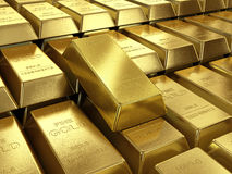 Background of gold bars close up high quality Stock Photography