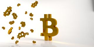 Background with gold bitcoin symbol. 3d rendering. Background with gold bitcoin symbol on white background. Top view. 3d rendering Stock Photo