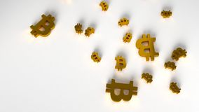 Background with gold bitcoin symbol. 3d rendering. Background with gold bitcoin symbol on white background. Top view. 3d rendering Royalty Free Stock Images