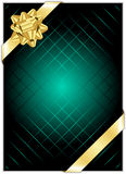 Background with gold bow. Vector turquoise background with gold bow Royalty Free Stock Photo