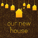 Background with gold colored hanging houses Royalty Free Stock Image
