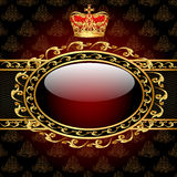Background with a gold crown and a circle of glass Stock Photos
