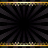 Background with gold decorations and rays - black vintage vector. Card - eps 8 Royalty Free Stock Photography
