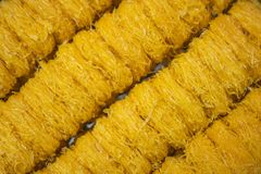Background of gold egg yolks thread or foi thong royalty free stock image