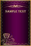 Background with gold(en) grape and goblet for menu Royalty Free Stock Image