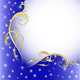 Background with gold (en) an ornament and stars Stock Image