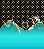 Background with gold flower and precious stones Royalty Free Stock Images