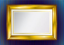 Background with gold frame. Background with vintage gold frame on the blue wallpaper vector illustration
