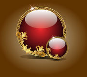 Background with gold glass balls as  speech Stock Photography
