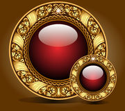 Background with gold glass balls as  speech Royalty Free Stock Photo