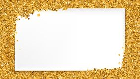 Background with gold glitter and place for text. White banner on backdrop of golden dust, sand. Horizontal 3D illustration, ready for print design, posters stock illustration