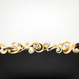 Gold jewelry frame and pearls Royalty Free Stock Photo