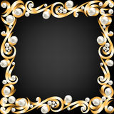 Gold jewelry frame and pearls Royalty Free Stock Image