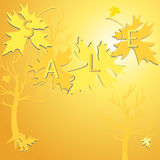 Background of  gold  leaves and sale Stock Photos