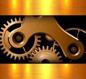 Background gold machinery Stock Photography