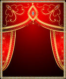Background with gold ornament on the curtains Royalty Free Stock Photo