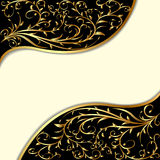 Background with gold ornament and waves Stock Photo