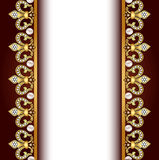 Background with gold ornaments and pearls Stock Images