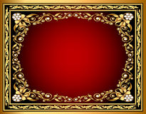 Background with gold pattern and bow Stock Photography