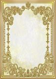 Background with gold pattern and frame Stock Image