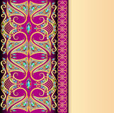 Background with gold pattern and gems with space for text Royalty Free Stock Images