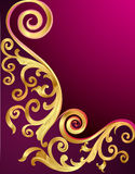 Background with gold pattern and whorl Royalty Free Stock Image