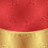 Background. Gold red background with abstract floral ornaments Stock Image