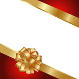 Background with gold and red ribbon. On white Royalty Free Stock Image