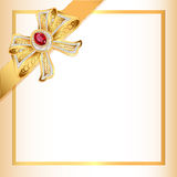 Background with gold ribbon and jewels Royalty Free Stock Image