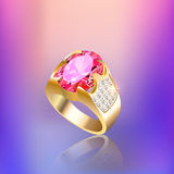 Background with gold ring gem and reflection Stock Images