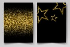 Vector background with gold shiny stars Gold glitter. Background with gold shiny stars Invitation gold glitters royalty free illustration