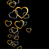 Background with gold and silver hearts Stock Images