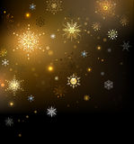 Background with gold snowflakes Royalty Free Stock Images