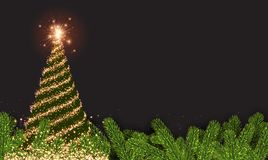 Background with golden abstract Christmas tree. New Year background with spruce branches and abstract Christmas tree. Vector illustration Stock Image