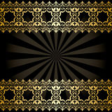 vector background with golden arabic decorations and rays - black Royalty Free Stock Photo