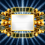 Background with golden banner and film strip Stock Photos