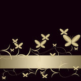 Background with golden butterflies Stock Image