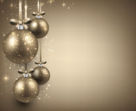 Background with golden christmas balls. Stock Photos