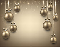 Background with golden christmas balls. Abstract background with golden christmas balls. Vector illustration Stock Photography