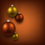 Background with golden christmas balls. Stock Photo