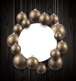 Background with golden Christmas balls. Wooden New Year background with golden Christmas balls. Vector illustration Royalty Free Stock Photo