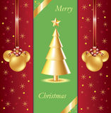 Background with golden Christmas tree Stock Image