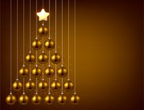 Background with golden Christmas tree. Royalty Free Stock Photos