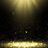 Background with Golden Confetti and Rays of Light Stock Image