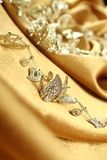 Background of golden fabric Royalty Free Stock Image