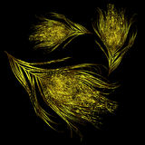 Background golden feathers fall. Vector image with black background golden feathers fall. eps10 royalty free illustration