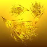 Background golden feathers fall. Vector image with gradient background golden feathers fall. eps10. with a transparency effect royalty free illustration